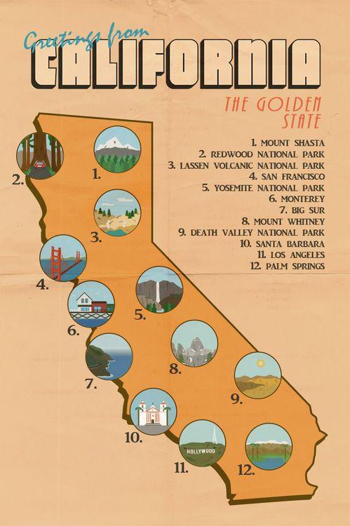 Vous pouvez dorénavant partir en Californie grâce à cette carte aussi pratique qu'orangé. #california #californie #map #vintage
