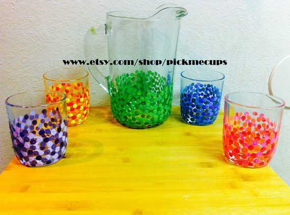Mojito Margarita Drinks Hand Painted Dots Sangria by PickMeCups, $120 ...