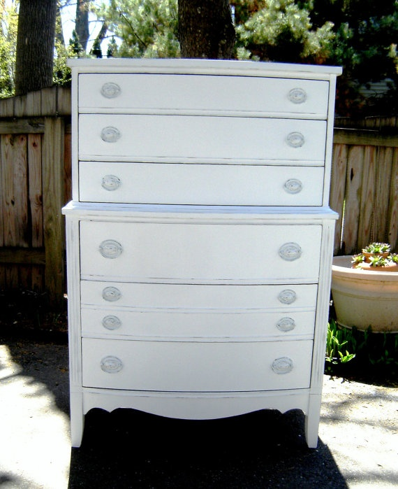 Vintage Tall Dresser White Shabby Chic Furniture