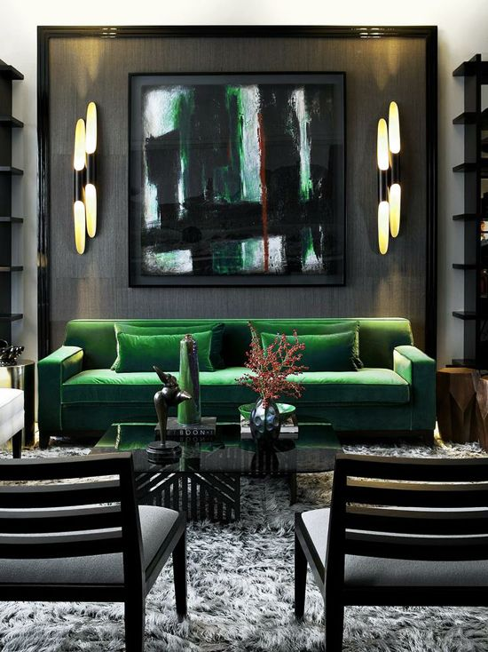 Emerald sofa with abstract art. #decor #painting #green #sofa #black #interior
