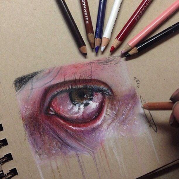 how to draw an eye using colored pencils