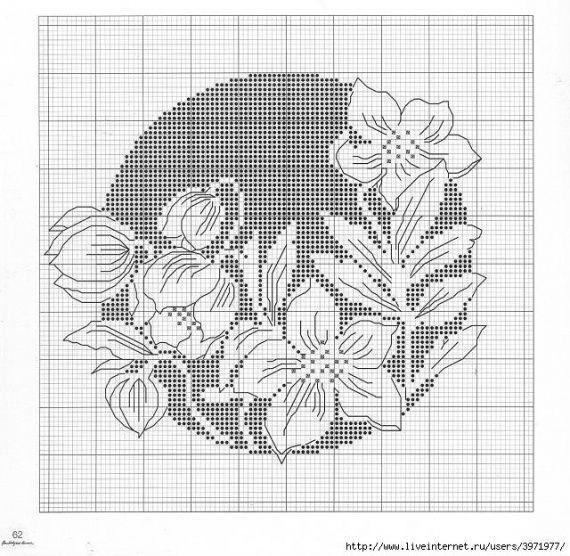 Чёрно белые цветы вышивка 60