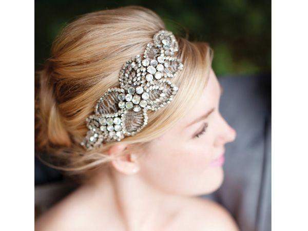 Tocado de novia en diadema retro peinados para novias - Peinados de novia modernos ...