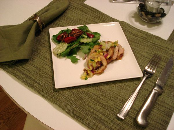 Mango Salsa in a mini chicken thigh roulade. Salad with balsamic ...