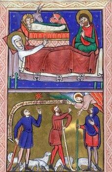 ***Natividad y Anunciación a los Pastores, S.XIII, Salterio de Oxford.
