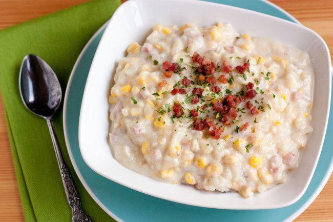 - corn chowder with salty, rich Parmesan rind, creamy, sweet corn ...