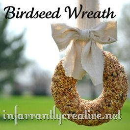 Bird seed wreath tutorial.  Great hostess or housewarming gift.