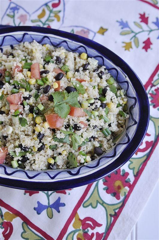 quinoa with black beans, corn, tomatoe, avocado, and lime mixture.