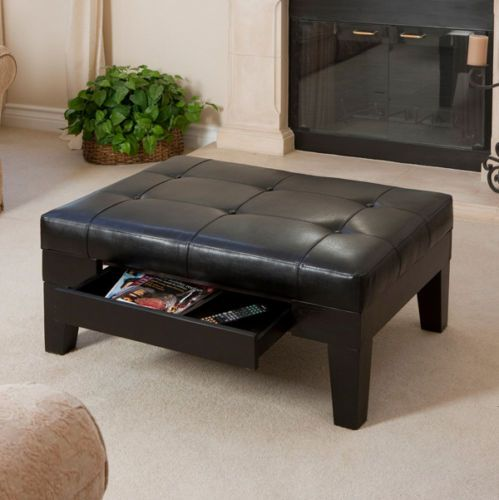 Design Black Leather Storage Ottoman Coffee Table W Tufted Top EBay