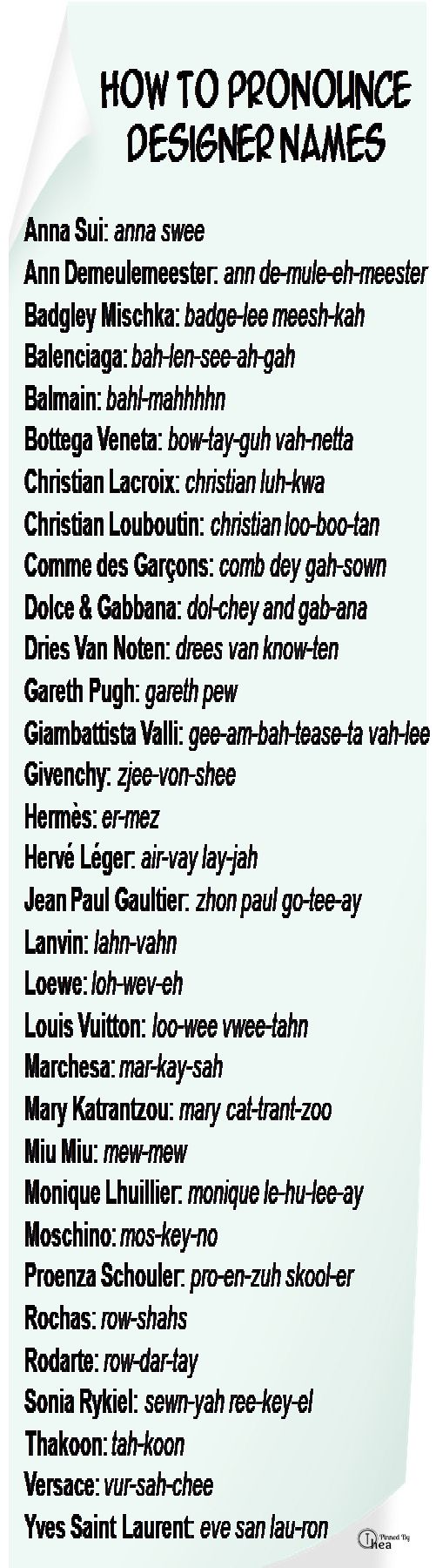 With more than names, this is the ultimate how-to guide on pronouncing tongue-twisting designer names such as Louboutin and Demeulemeester.