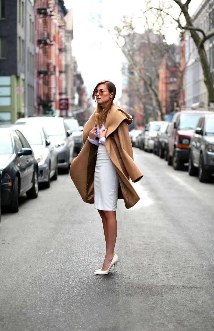 Pencil Skirt - WEWOREWHAT - white look - camel coat - outfit
