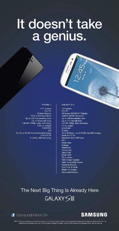 """Apesar da derrota na justiça, a Samsung não parece disposta a recuar: a gigante sul-coreana lançou uma peça publicitária onde ataca diretamente o iPhone 5. Na lista das características do iPhone 5, bem menor que a do SIII, a ironia com o novo conector Lightning da Apple: """"um plug totalmente diferente"""". Na Macworld."""