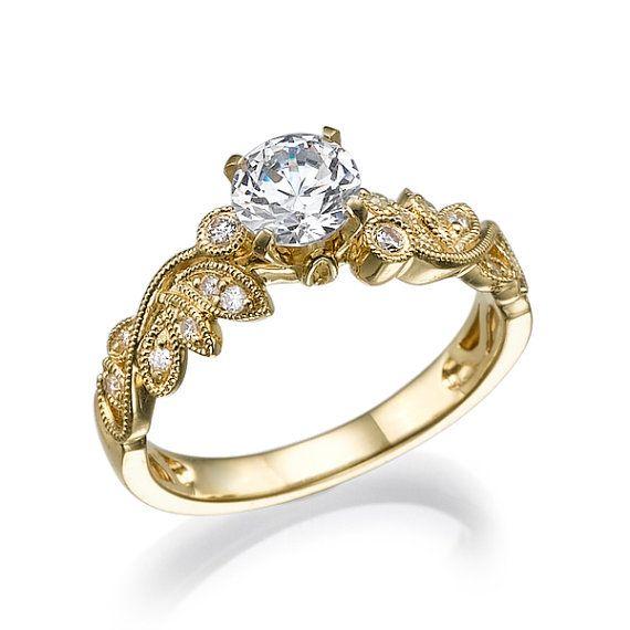 engagement ring 14k unique design handmade deco ring