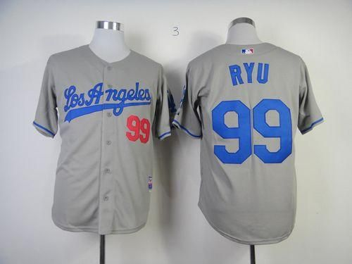 Dodgers 99 hyun jin ryu grey cool base embroidered mlb jersey only