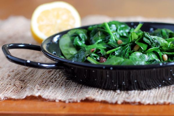 Spinach with Pine Nuts and Raisins ~ my great-grandfather loved ...