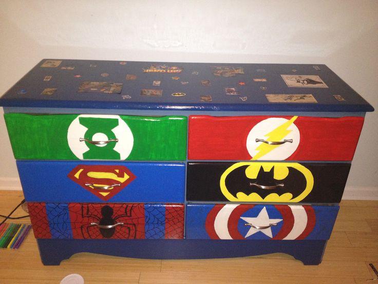 hand painted dresser for a boys superhero room decor ideas