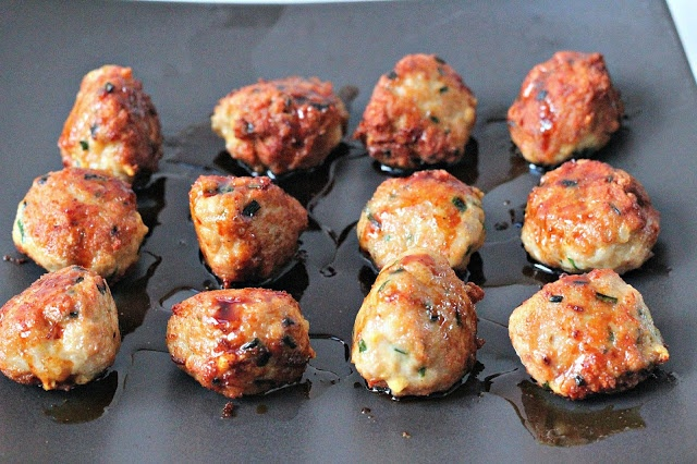 Chicken and Chive Meatballs with Soy and Ginger Glaze || Milk and ...