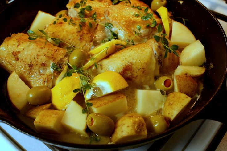 Braised Chicken with Lemon and Potatoes and Olives