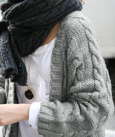Big grey cable cardigan and charcoal scarf muffler...perfect for the chilly cross country meets.