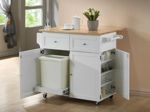 rolling kitchen cart with butcher block surface spice