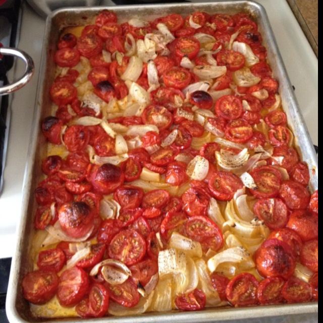 Roasted Tomato Soup 3 lbs tomatoes 2 small onions 8 garlic cloves Qt ...