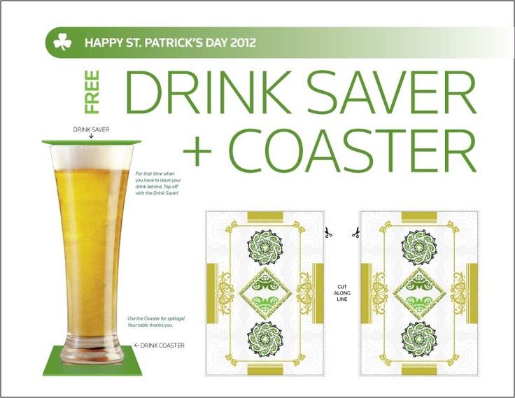 St Patricks Day Drink Saver And Coaster Design Pinterest