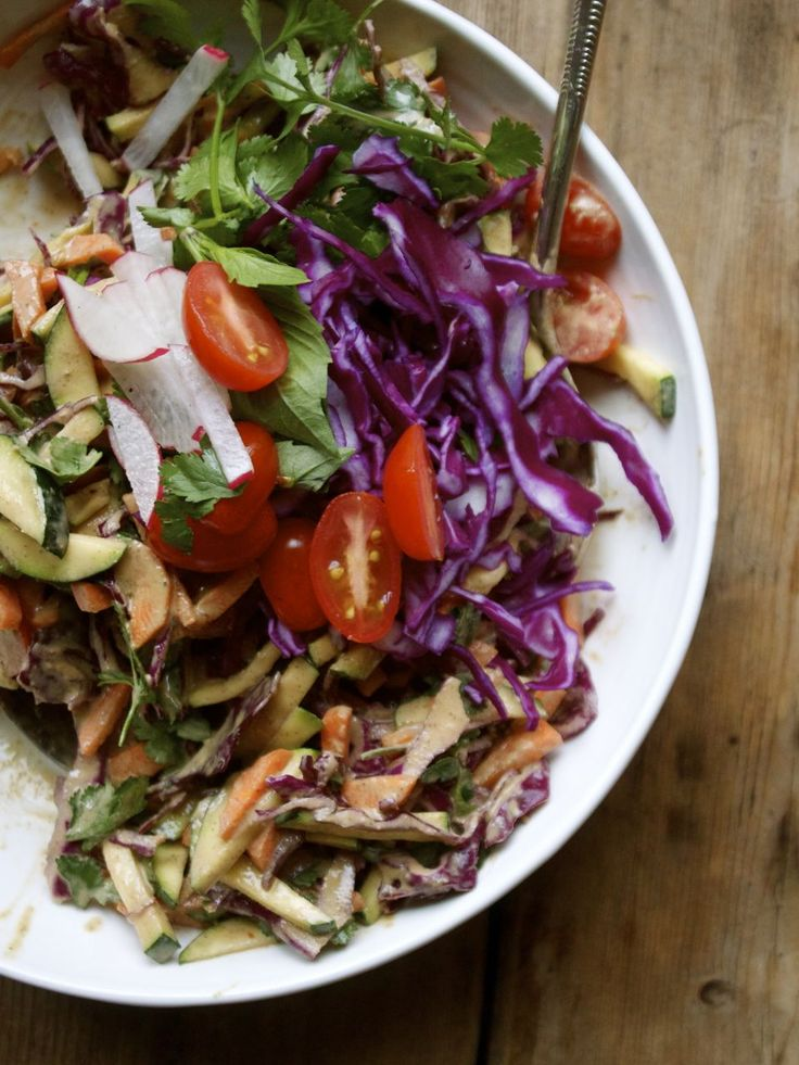 Thai Vegetable Slaw with Sriracha, Lime & Nut Butter Dressing | Mostly ...