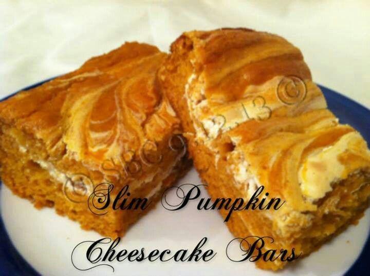 Slim pumpkin cheesecake bars | Pumpkin Day | Pinterest