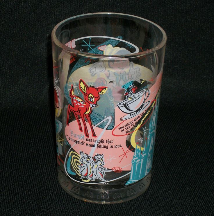 McDONALD'S Drinking Glass- Disney's 100 Years of Magic. Features Pinocchio, Bambi, Tinkerbell, Dumbo, Mickey, Chip and Dale, the Mad Hatter in a Teacup and Cinderella's Castle.  Excellent Pre-Owned Condition! $14.95 obo (Free S&H) (#13251)