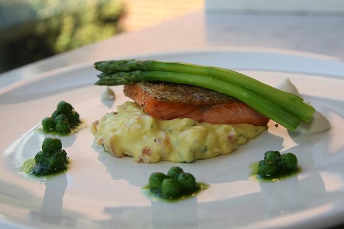 ... Arctic Char w/creamed cauliflower, asparagus, and lobster hollandaise