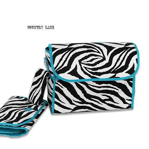 Zebra wBlue Trim Diaper Bag