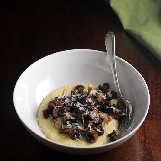 ... your meatless Monday! Roasted mushrooms over creamy, cheesy polenta