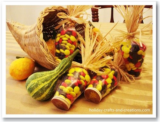 Thanksgiving treats made from M&Ms in fall colors