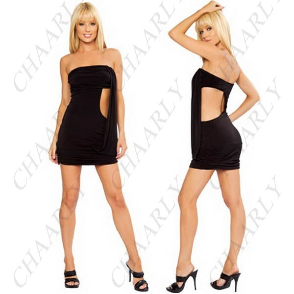 Strapless hollow out mini dress skirt corset adult costume ktv club
