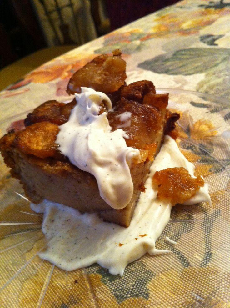 Apple Maple Bread Pudding with Madagascar Vanilla Crème Fraiche
