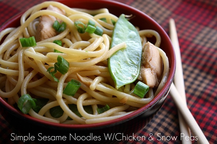 Mommy's Kitchen: Simple Sesame Noodles W/Chicken & Snow Peas