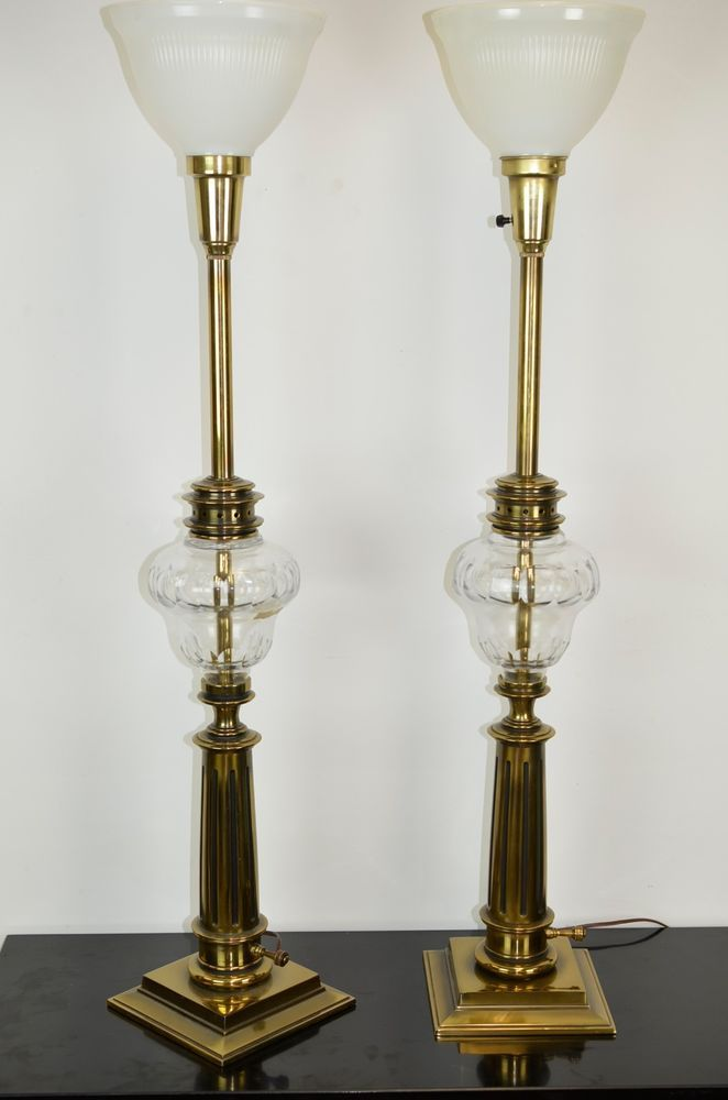 large brass stiffel torchiere table lamps german crystal hollywo