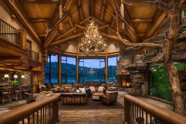 Huge Open Log Home Living Room With Vaulted Ceiling And