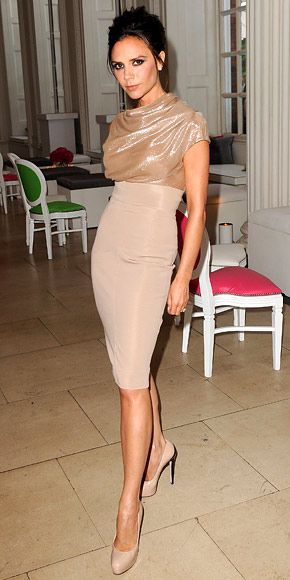 victoria beckham + brian atwood + victoria beckham dress - love the nude on nude