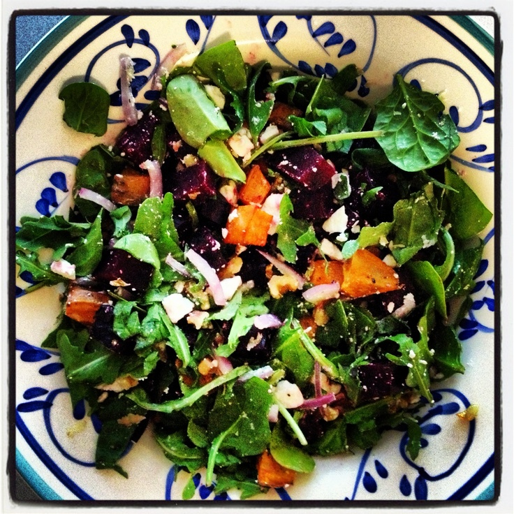 roasted beetroot and sweet potato salad with walnuts and feta