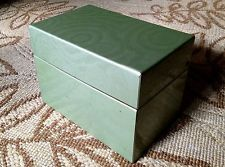 Vintage J Chein Recipe Box Green Swirl with Handwritten Recipes & Dividers