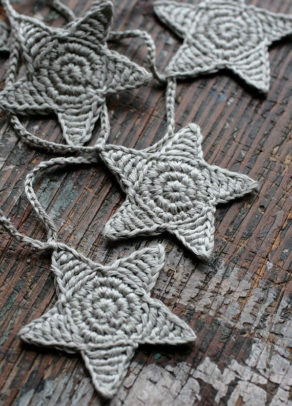 Crochet Garland  Wall Hanging  Small Bunting  Stars by namolio, $23.50