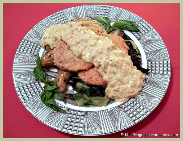 "Pine-Nut-&-Basil Seared Gardein ""Chicken"" with Lobster Mushroom..."