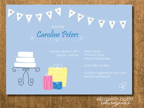 Quirky Wedding Banner Bridal Shower Invitation by ElizabethBalint