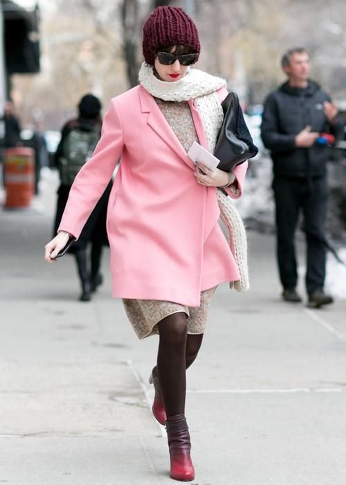 Best street style: New York Fashion Week Fall 2014 //  In a rush to catch the next show at NYFW Fall 2014? A bubblegum pink jacket and ombré boots will get you there on time.