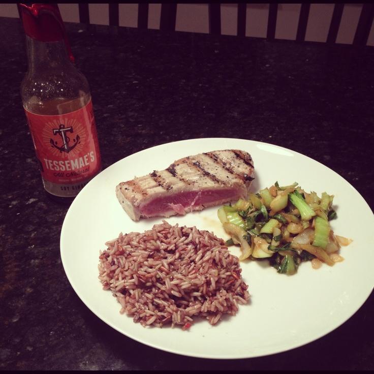 ... tuna, wild rice and sauteed tessemae's soy ginger bok choy. #soyful