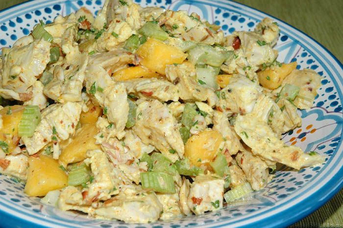 Peachy Chicken Salad. Chicken, peaches, celery, almonds, mayo, acv ...