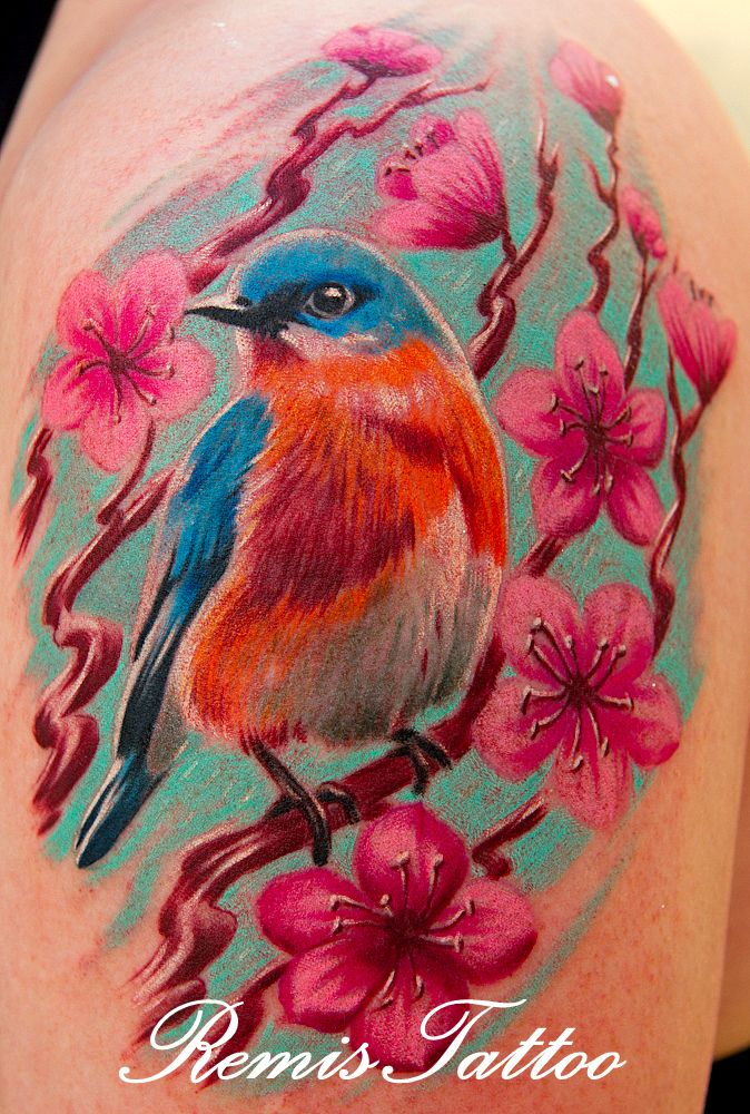 Absolutely gorgeous robin in amongst the cherry blossoms... Done by Remi's Tattoo in Dublin, Ireland: www.facebook.com/RemisTattoo