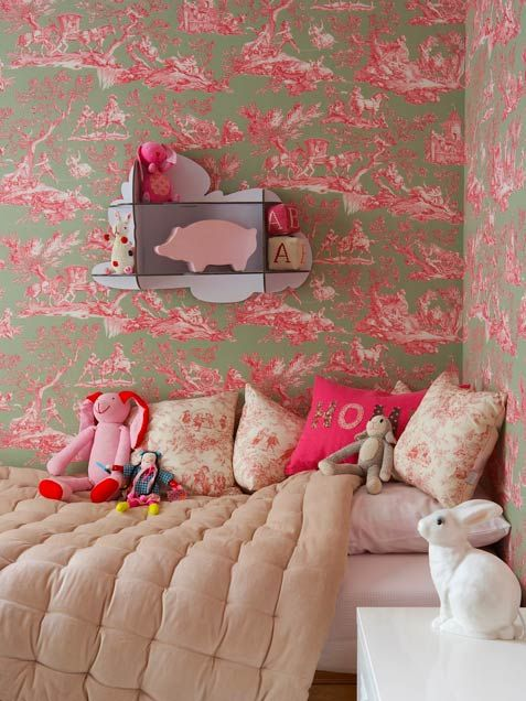 bright pink toile with neutral bedding (and a few awesome hot pink accents!) - girl's bedroom