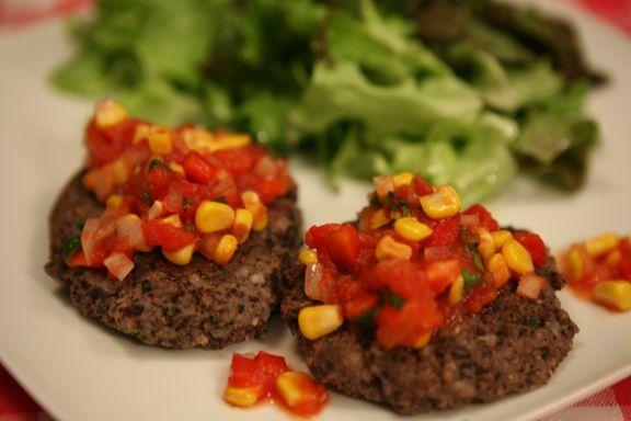 Black bean patties with Salsa | Vegetarian foods | Pinterest